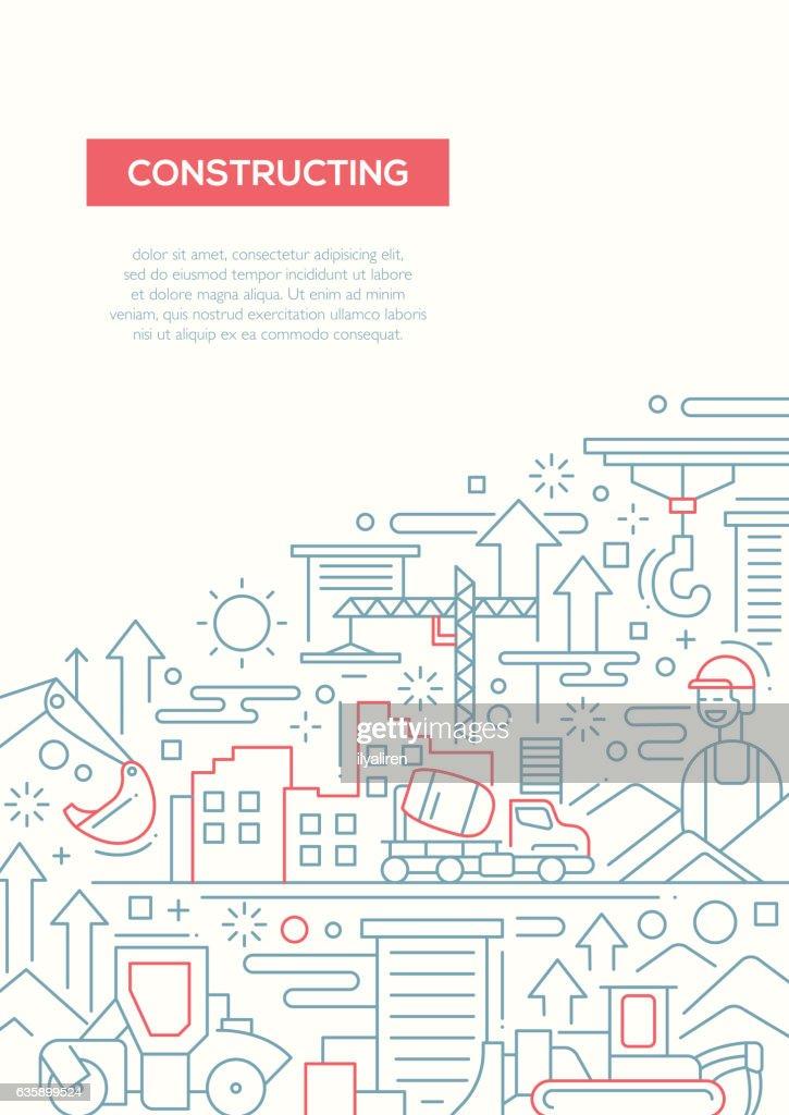 Constructing - line design brochure poster template A4