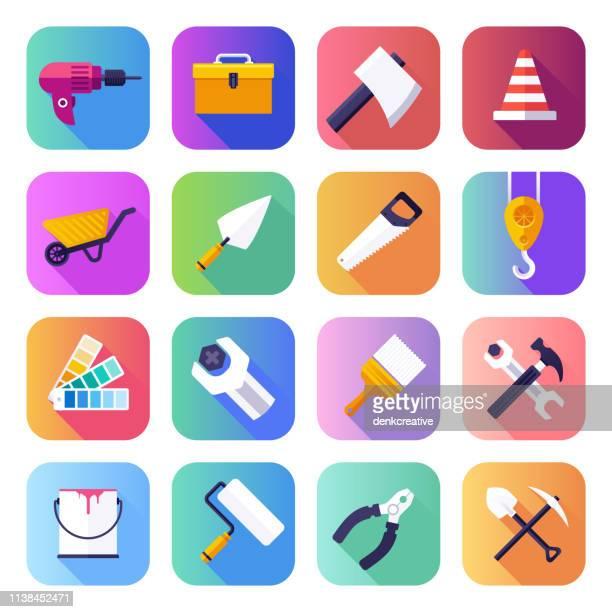 stockillustraties, clipart, cartoons en iconen met construeren, repareren & onderhouden platte vloeiende gradiënt stijl vector iconen set - glad