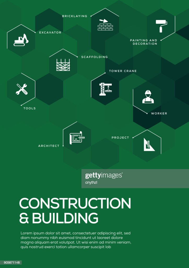 Construction and Building. Brochure Template Layout, Cover Design : stock illustration