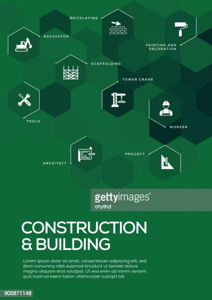 construction and building. brochure template layout, cover design - occupational safety and health stock illustrations, clip art, cartoons, & icons