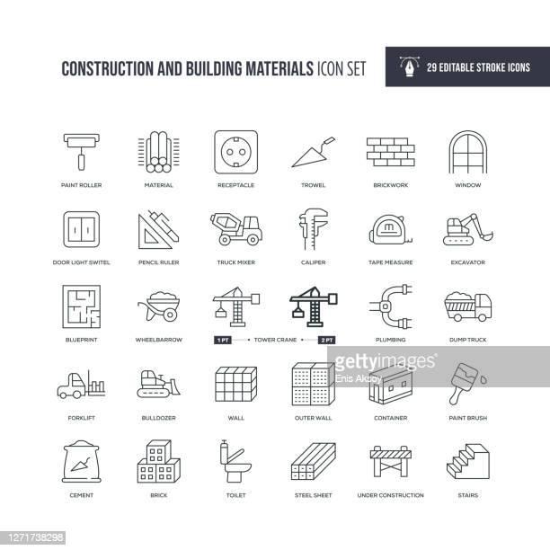 建設資材および建築材料編集可能な線アイコン - 煉瓦点のイラスト素材/クリップアート素材/マンガ素材/アイコン素材