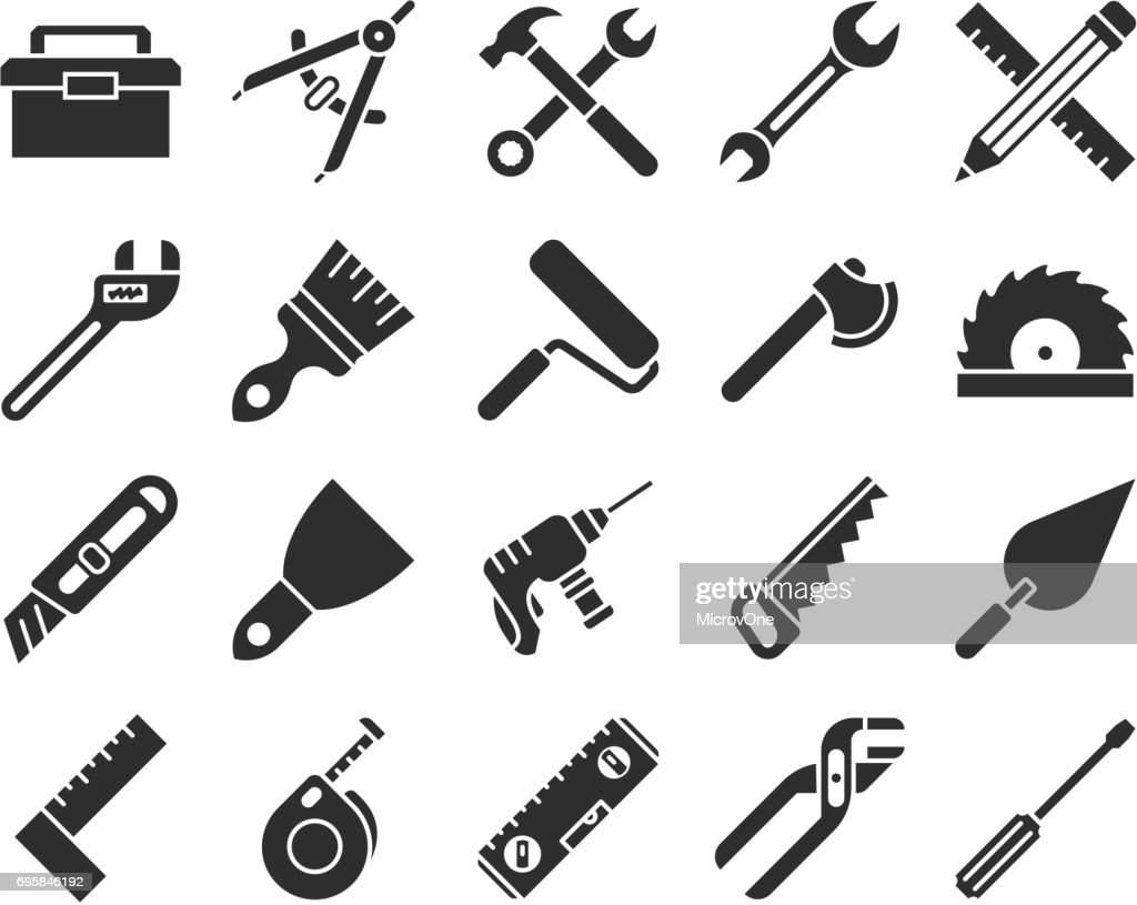 Construction and engineering tools silhouette vector icons