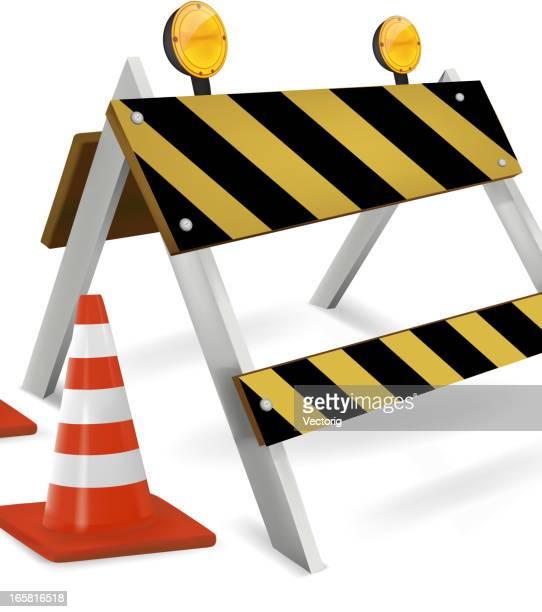 Konstruktion und Road barrier, isoliert auf weiss