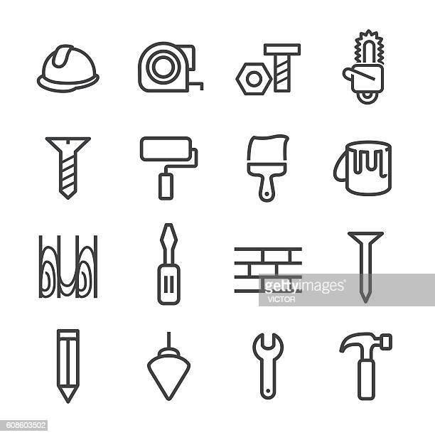 ilustraciones, imágenes clip art, dibujos animados e iconos de stock de construction and tools icons - line series - pintores de brocha gorda