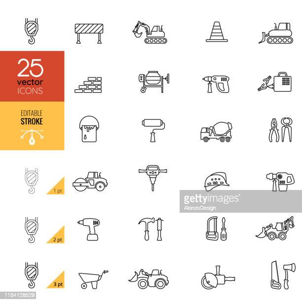 construction and tools line icons. editable stroke. - demolished stock illustrations