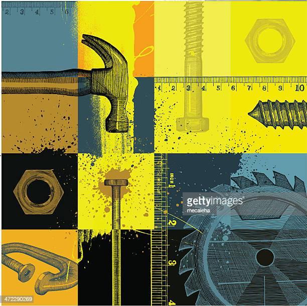 stockillustraties, clipart, cartoons en iconen met construction background - nut bolt