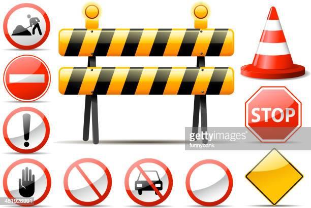 construction barrier symbols - entrance sign stock illustrations