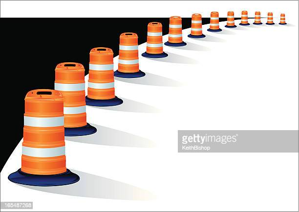 construction barriers - road work - road construction stock illustrations