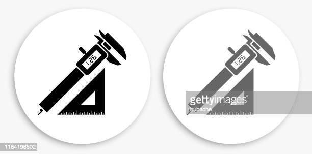 konstruktion schwarz-weiß runde icon - schieblehre stock-grafiken, -clipart, -cartoons und -symbole