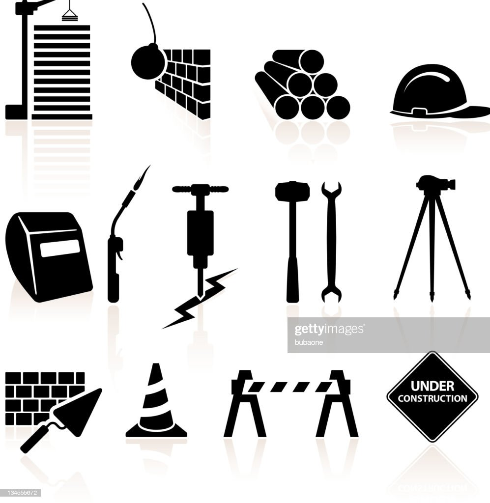 Construction black and white royalty free vector icon set