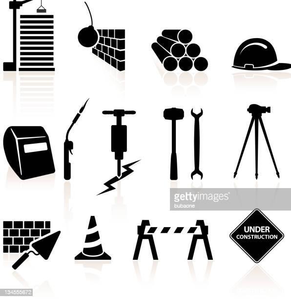 Preto e branco de construção vector conjunto de ícones royalty free