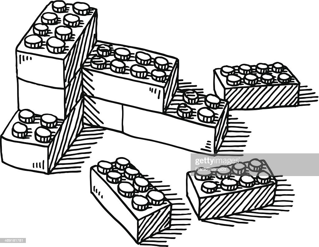 Construction Blocks Toy Drawing : stock illustration