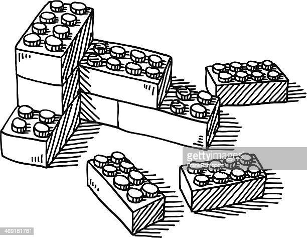 construction blocks toy drawing - brick stock illustrations