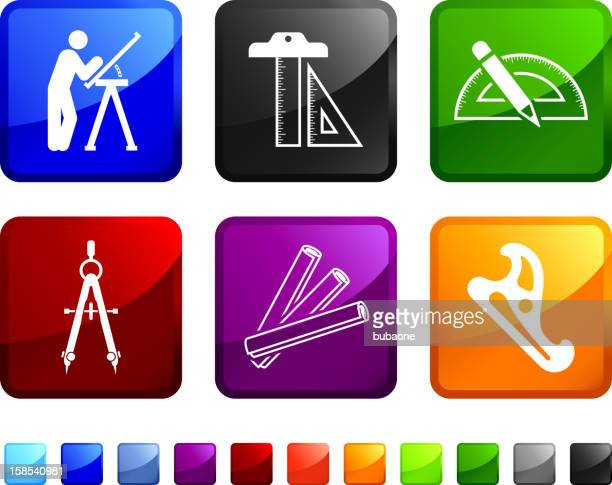 bau blaupause ausrüstung lizenzfreie vektor icon set aufkleber - the black tape project stock-grafiken, -clipart, -cartoons und -symbole