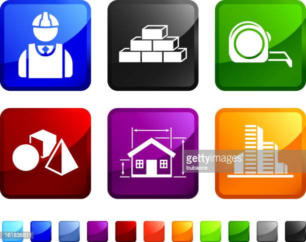 bau blaupause lizenzfreie vektor icon set aufkleber - the black tape project stock-grafiken, -clipart, -cartoons und -symbole