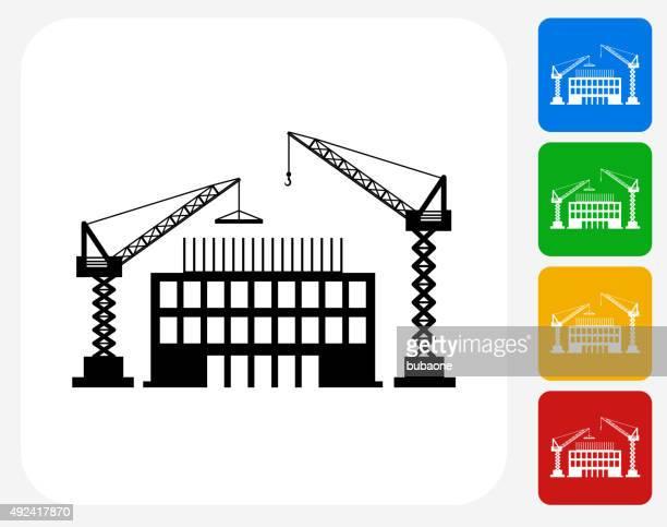 construction building icon flat graphic design - crane construction machinery stock illustrations