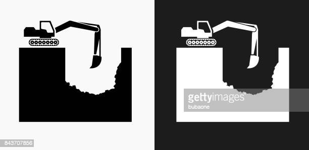 Construction Building Icon on Black and White Vector Backgrounds