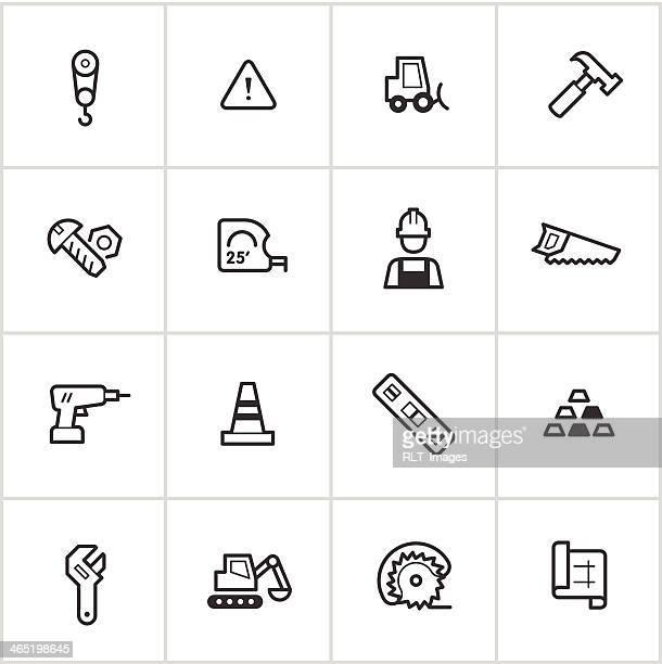 stockillustraties, clipart, cartoons en iconen met construction & building icons — inky series - nut bolt