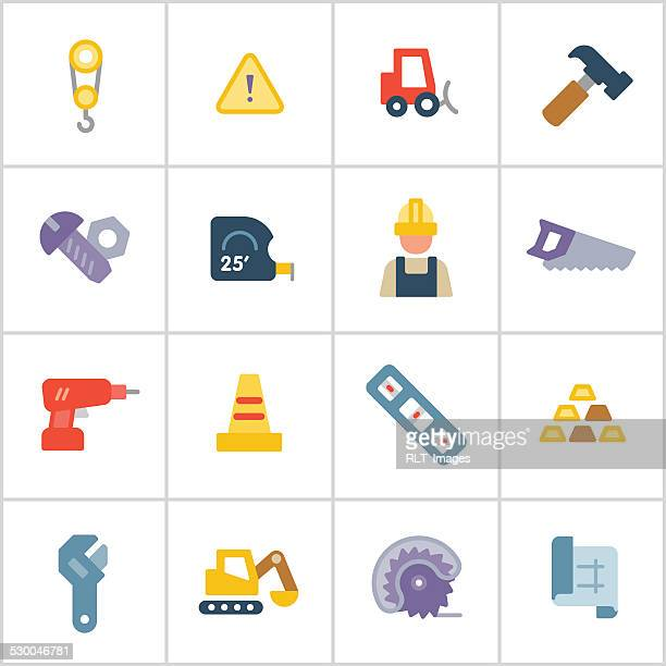 stockillustraties, clipart, cartoons en iconen met construction & building icons — poly series - nut bolt