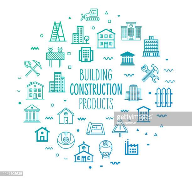 construction & building products outline style infographic design - council flat stock illustrations