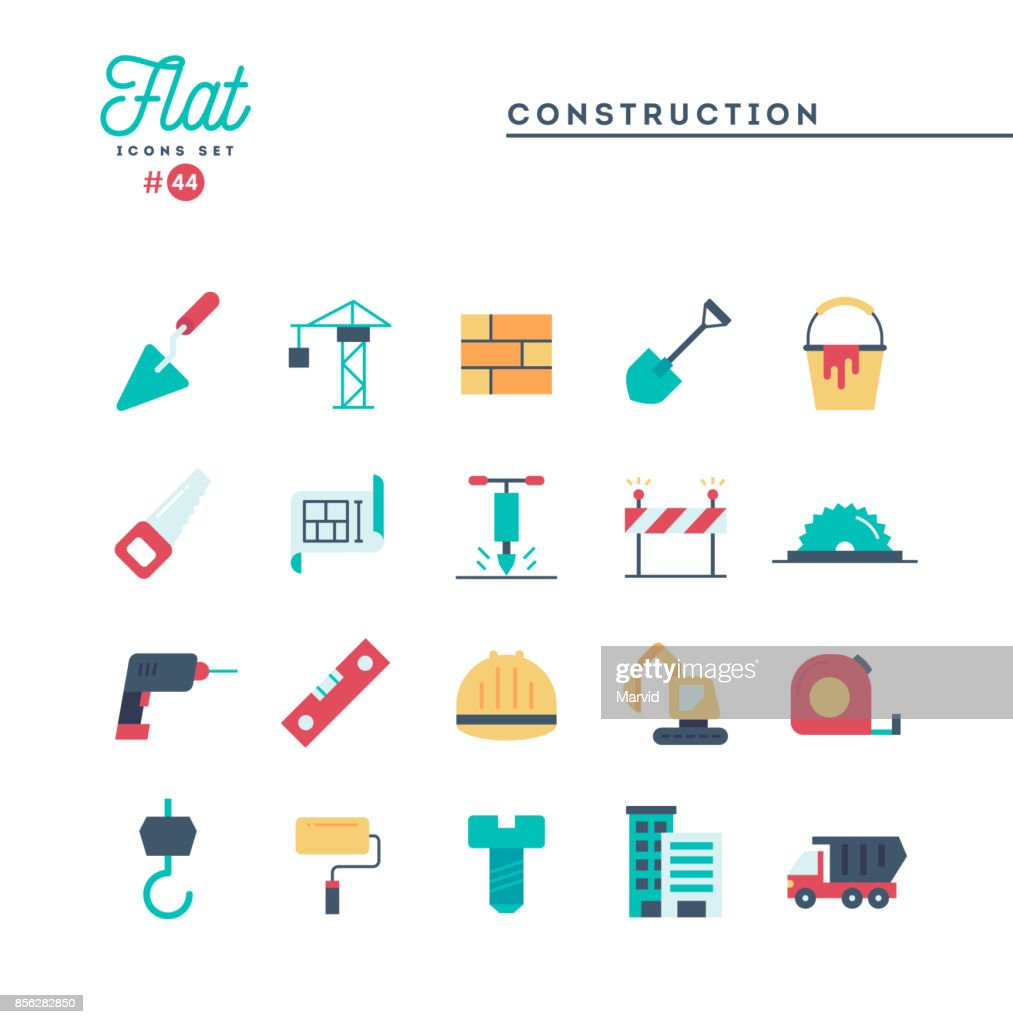 Construction, building, project, tools and more, flat icons set