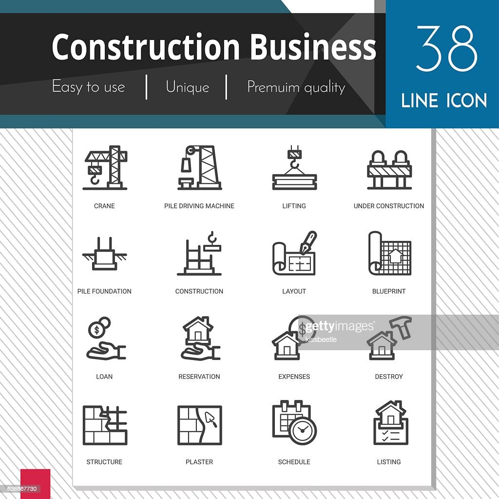 Construction business elements vector icons set on white background.