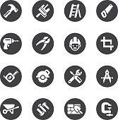 Construction Circle Silhouette icons | EPS10