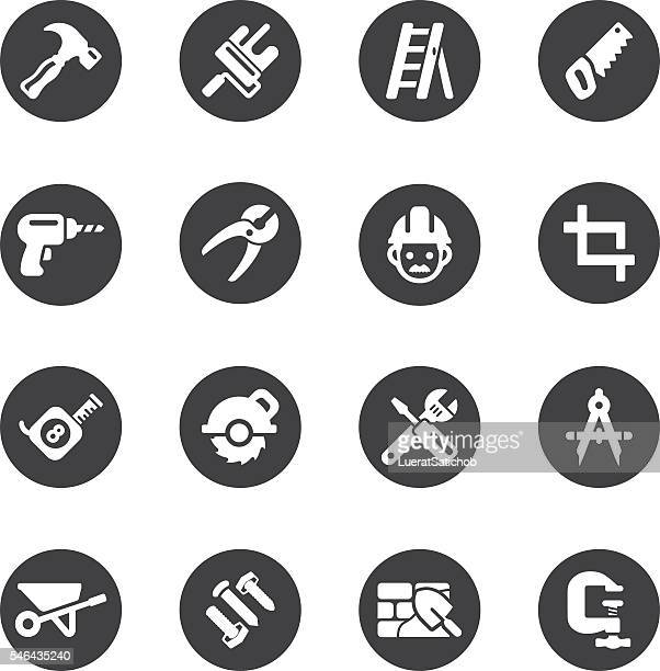 construction circle silhouette icons | eps10 - dental drill stock illustrations