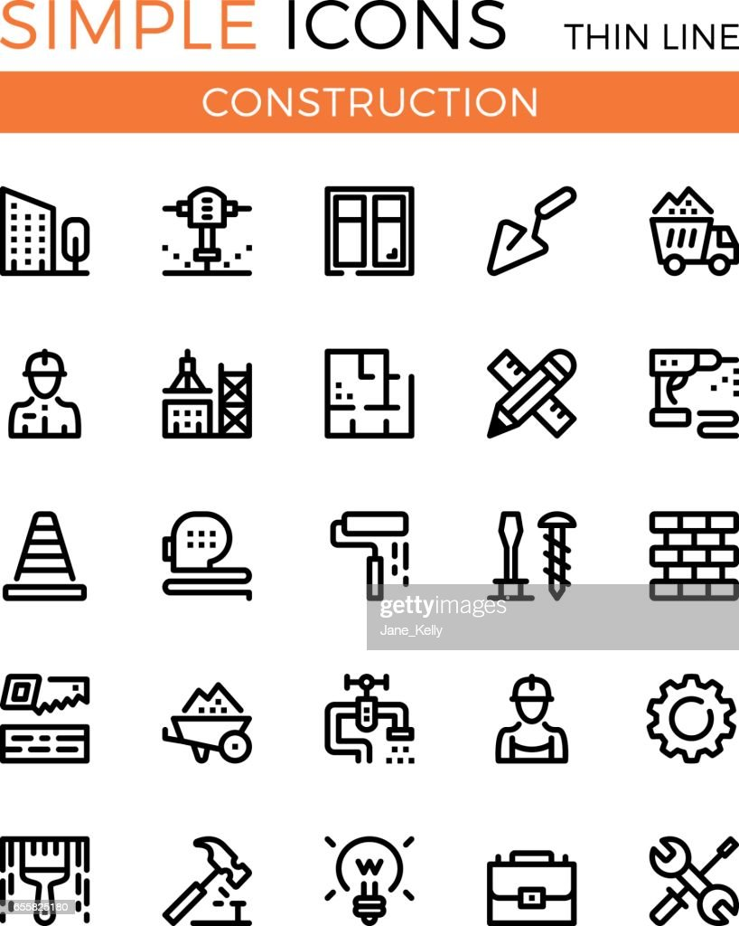 Construction, civil engineering, building vector thin line icons set. 32x32 px. Modern line graphic design concepts for websites, web design, etc. Pixel perfect vector outline icons set