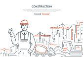 Construction - colorful line design style web banner