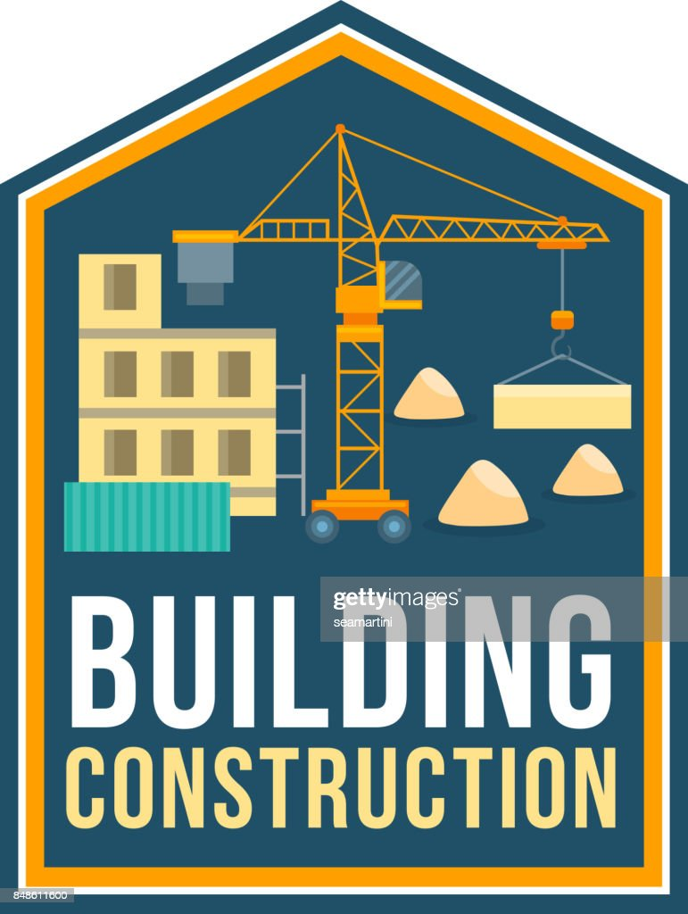 Construction company badge with building site