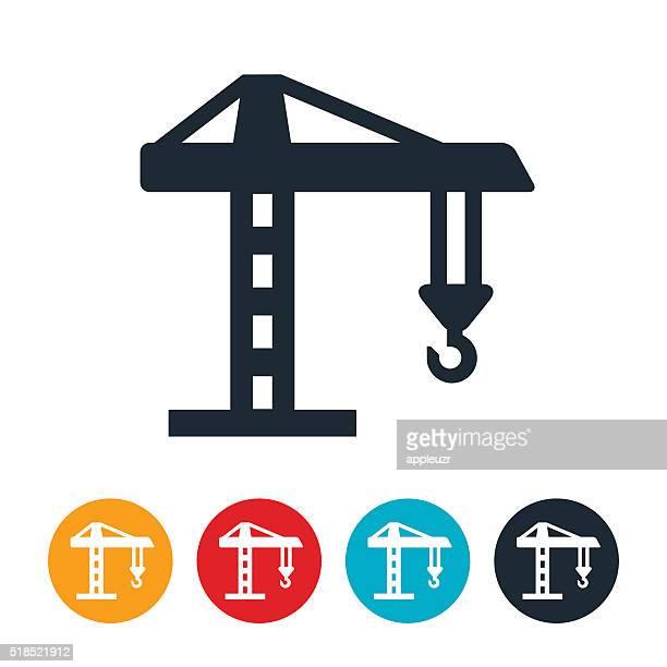 construction crane icon - crane construction machinery stock illustrations