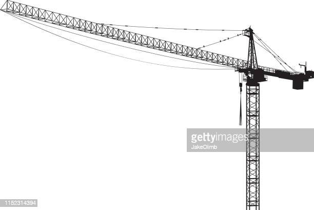 construction crane silhouette - steel cable stock illustrations