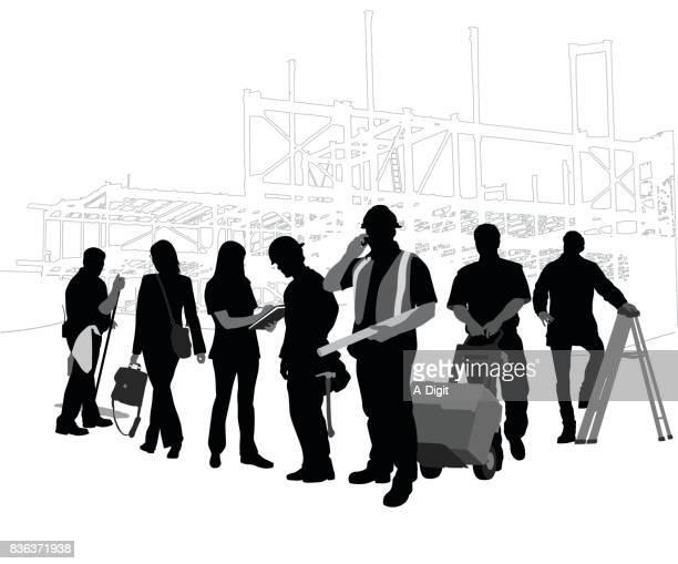 construction crew - back lit stock illustrations