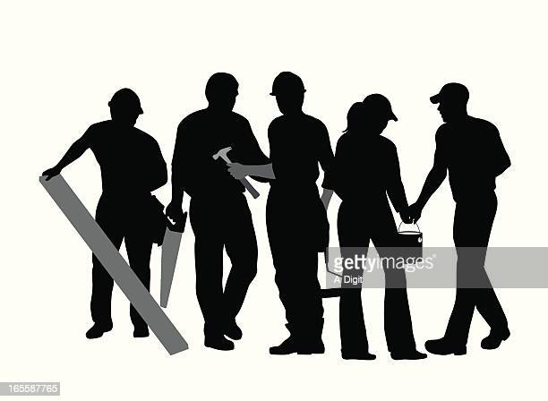 construction crowd vector silhouette - females stock illustrations, clip art, cartoons, & icons