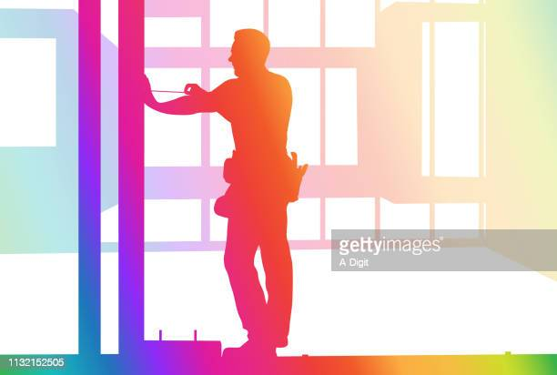 construction doing it right rainbow - carpenter stock illustrations