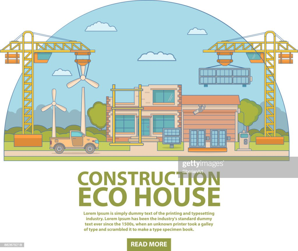 Construction eco house concept vector illustration in flat linear style