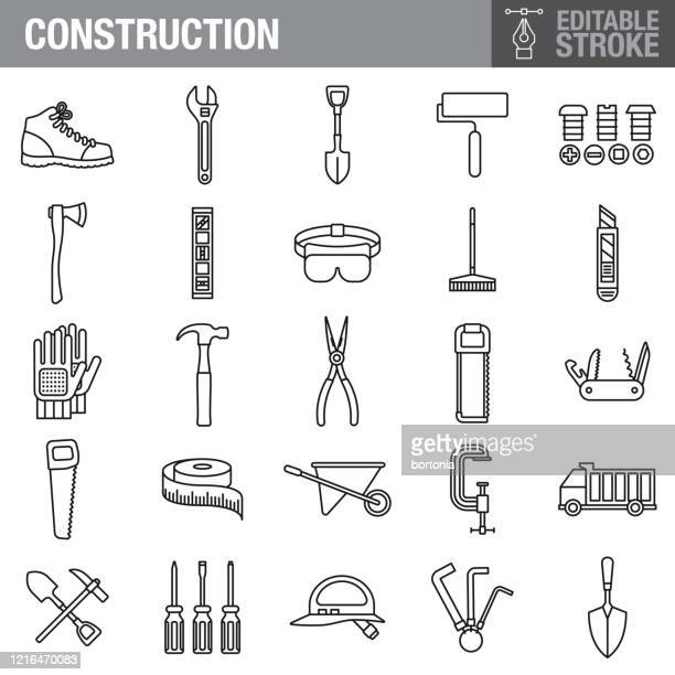 construction editable stroke icon set - tape measure stock illustrations