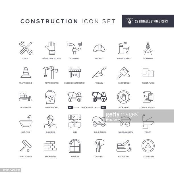 construction editable stroke line icons - construction industry stock illustrations