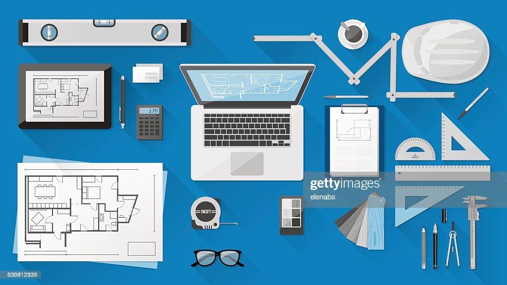 Construction engineer desk : Vector Art