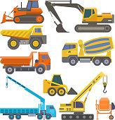 Construction equipment and machinery with trucks crane bulldozer flat yellow transport vector illustration