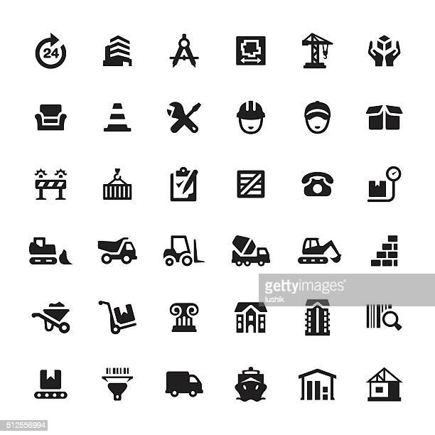 Construction Equipment and Site vector icons