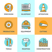 Construction equipment line icons set