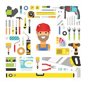 Construction equipment tools flat icons set