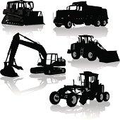 Construction Equipment, Vehicles - Bulldozer, Dump Truck, Grader