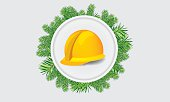 Construction hardhat with xmass theme