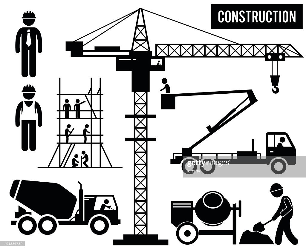 Construction Heavy Industry Equipments Pictogram