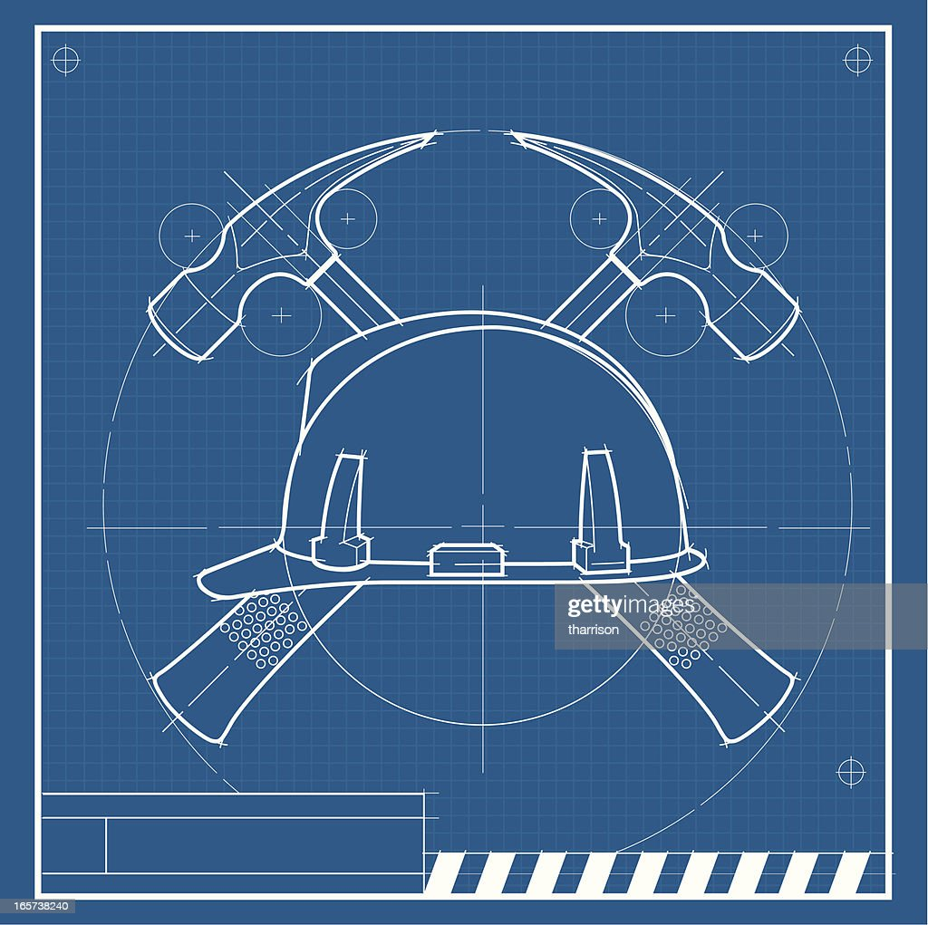 Construction helmet blueprint vector art getty images construction helmet blueprint vector art malvernweather Images