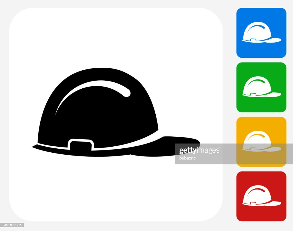 Construction Helmet Icon Flat Graphic Design : stock illustration