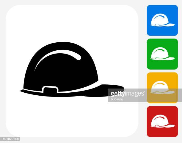 construction helmet icon flat graphic design - occupational safety and health stock illustrations, clip art, cartoons, & icons